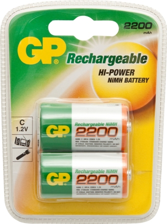 GP RECHARGEABLE BATTERY C 2200MAH 1.2V (2)