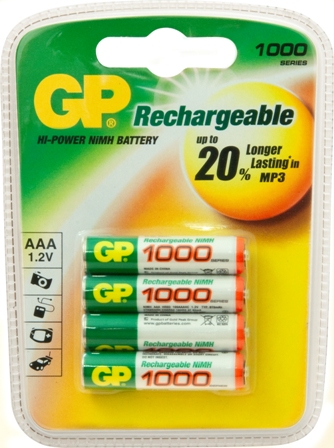 GP RECHARGEABLE BATTERY AAA 600MAH 1.2V (4)