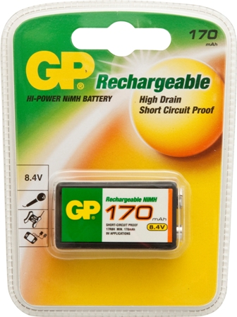 GP RECHARGEABLE BATTERY 9V 170MAH 8.4V (1)