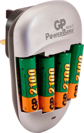 GP BATTERY CHARGER AA & AAA NIMH QUICK 2 POWERBANK