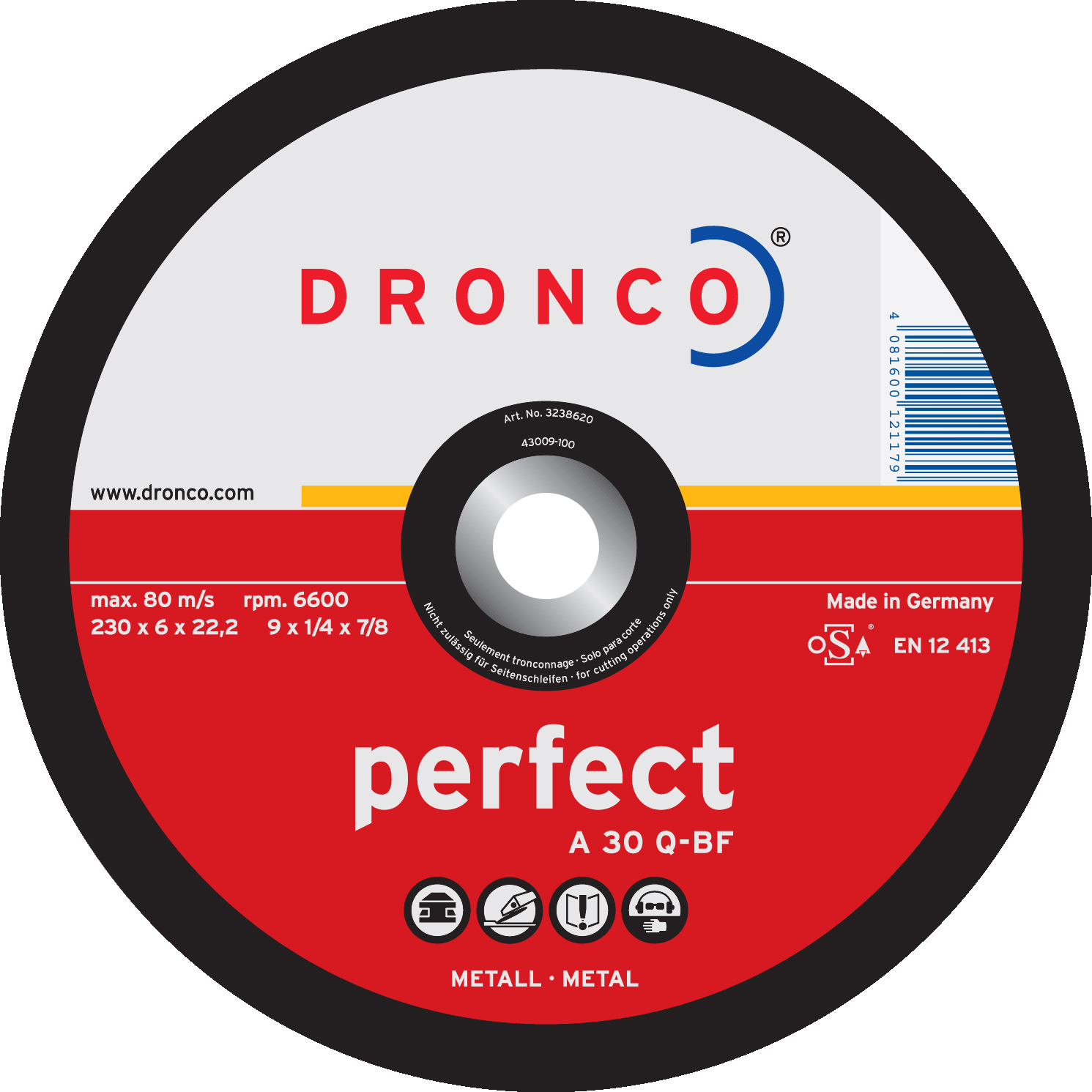 "DRONCO PERFECT METAL GRINDING DISC 4 1/2"" 115MM (10) DEPRESSED"